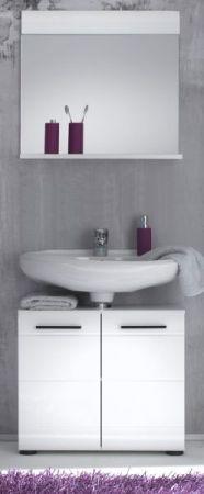 Badmöbel Set Skin Hochglanz weiß 2-teilig mit Unterschrank und Badspiegel