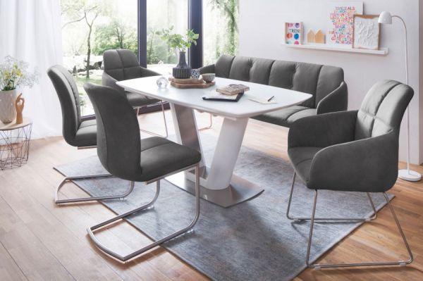 2 x Stuhl mit Armlehne Tessera in Grau Kunstleder und Freischwinger Edelstahl Esszimmerstuhl 2er Set Clubsessel