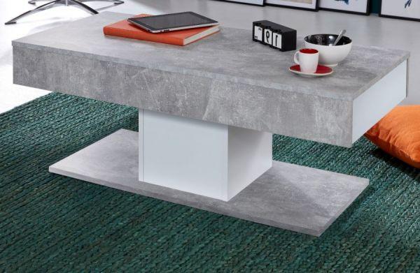 Couchtisch Universal in Stone Design grau und weiß mit 2 x Schubkasten Wohnzimmertisch 110 x 50 cm Säulentisch