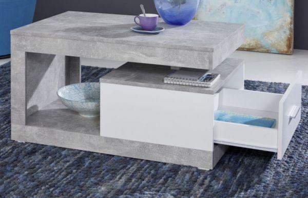 """Couchtisch """"Universal"""" in Betonoptik grau und weiß 90 x 55 cm"""