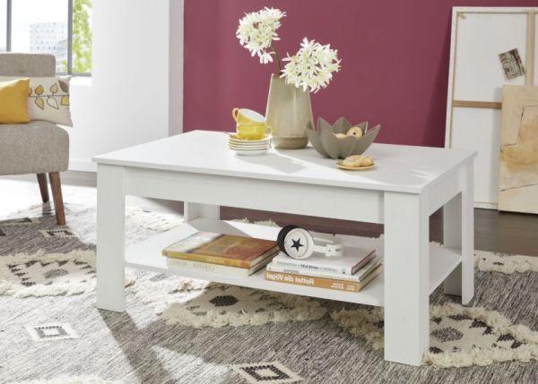 Couchtisch in Anderson Pinie weiß Struktur Wohnzimmertisch mit Ablage 110 x 67 cm Beistelltisch