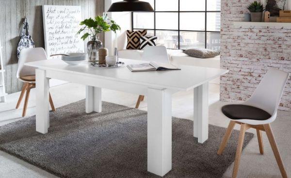 Esstisch in weiß, Küchentisch ausziehbar inkl. Einlegeplatte im Untergestell 160 / 200 cm