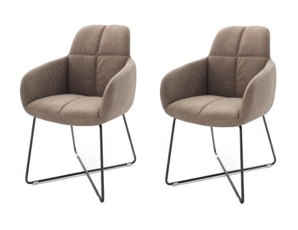 2 x Stuhl mit Armlehne Tessera in Schlamm Kunstleder und X-Kufen Gestell Anthrazit lackiert Esszimmerstuhl 2er Set Clubsessel