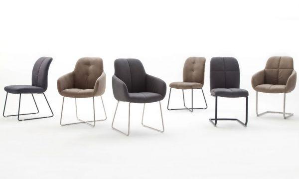 2 x Stuhl mit Armlehne Tessera in Grau Kunstleder und X-Kufen Gestell Edelstahl Esszimmerstuhl 2er Set Clubsessel