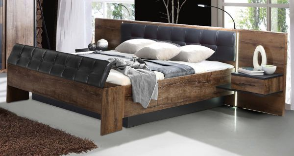 Bettanlage Bellevue in Eiche / Schlammeiche inkl. Lichtleisten und Nachtkommoden Doppelbett Liegefläche 160 x 200 cm