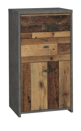 Kommode Best Chest in Old Used Wood Shabby mit Betonoptik grau Vintage Anrichte 40 x 77 cm