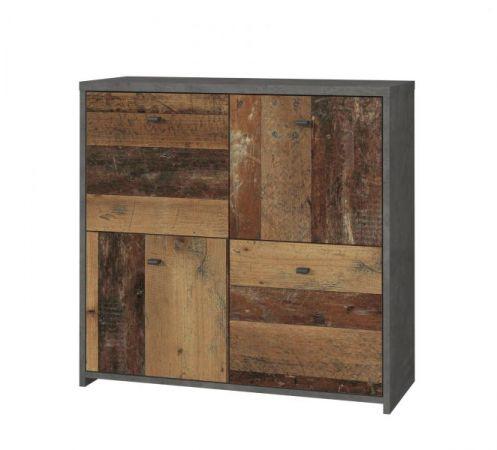 Kommode Best Chest in Old Used Wood Shabby mit Betonoptik grau Vintage Anrichte 77 x 77 cm