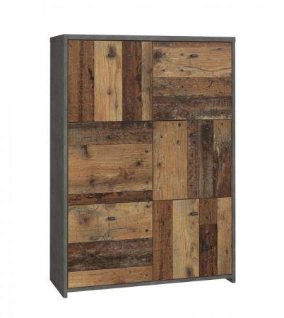 Kommode Best Chest in Old Used Wood Shabby mit Betonoptik grau Vintage Anrichte 77 x 112 cm