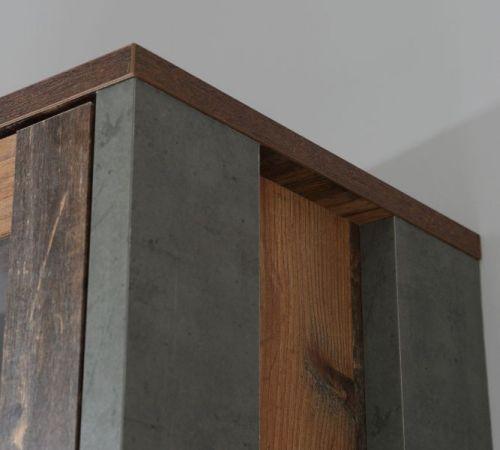 Wohnwand Clif in Old Used Wood Shabby mit Betonoptik grau Schrankwand 4-teilig Vintage 330 cm