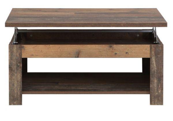 Couchtisch Clif in Old Used Wood Shabby Wohnzimmertisch mit Ablage 110 x 65 cm hochklappbar mit Esstischfunktion