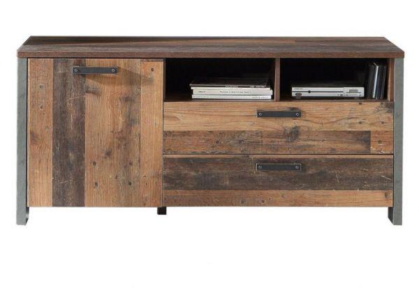 TV-Lowboard Clif in Old Used Wood Shabby mit Betonoptik grau TV-Unterteil Vintage 142 x 64 cm
