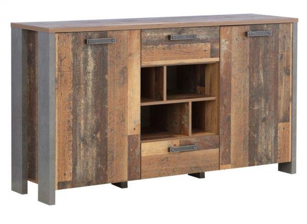 Sideboard Clif in Old Used Wood Shabby mit Betonoptik grau Kommode Vintage 156 x 86 cm Anrichte
