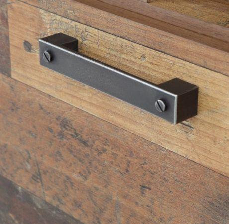 Highboard Clif in Old Used Wood Shabby mit Betonoptik grau Vitrine Vintage 151 x 128 cm Anrichte Vitrinenschrank