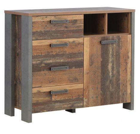 Kommode Clif in Old Used Wood Shabby mit Betonoptik grau Sideboard Vintage 107 x 86 cm Anrichte