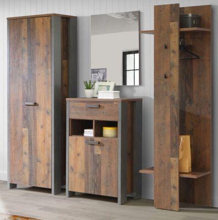 Garderobe Clif in Old Used Wood Shabby mit Betonoptik grau Garderobenset 4-teilig Flurgarderobe 214 x 202 cm