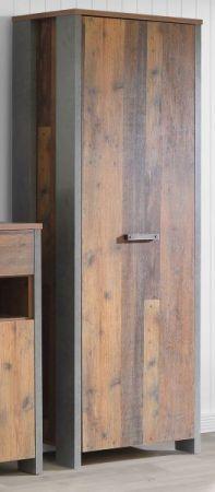 Garderobenschrank Clif in Old Used Wood Shabby mit Betonoptik grau Garderobe Flurgarderobe 67 x 202 cm