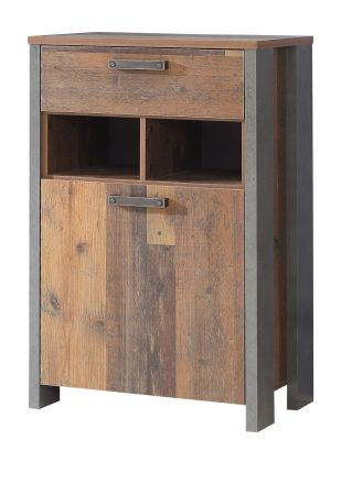 Schuhschrank Clif in Old Used Wood Shabby mit Betonoptik grau Schuhkommode Flurgarderobe 67 x 106 cm