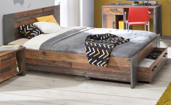 Jugendzimmer Bett Clif in Old Used Wood Shabby mit Betonoptik grau Kinderzimmer Liegefläche 140 x 200 cm