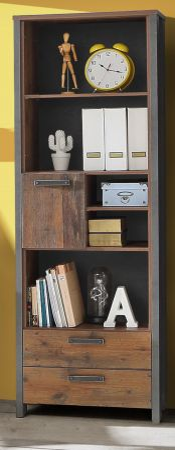Jugendzimmer Regalschrank Regal Clif in Old Used Wood Shabby mit Betonoptik grau Kinderzimmer 67 x 205 cm