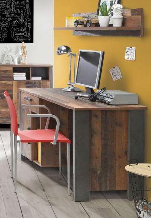 Jugendzimmer Schreibtisch Clif in Old Used Wood Shabby mit Betonoptik grau mit Unterschrank 127 x 74 cm