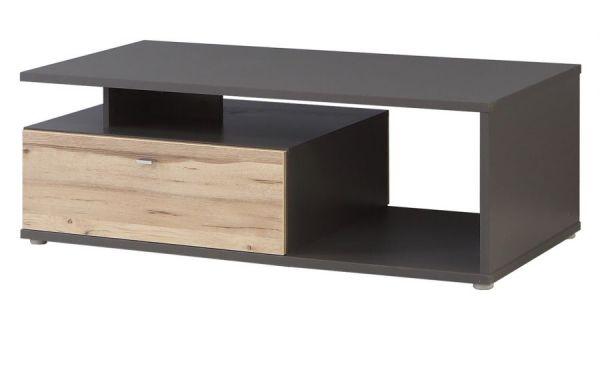 Couchtisch Como in Wolfram grau und Eiche geplankt Wohnzimmertisch 120 x 59 cm mit 2 x Schubkasten und Ablage
