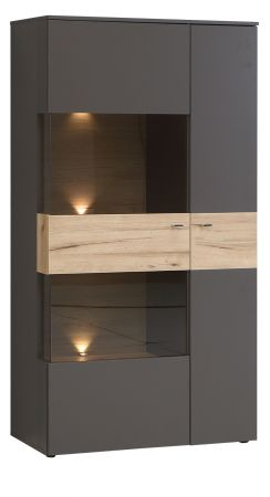 Highboard Como in Wolfram grau und Eiche geplankt Vitrine inkl. LED Beleuchtung Vitrinenschrank 90 x 168 cm