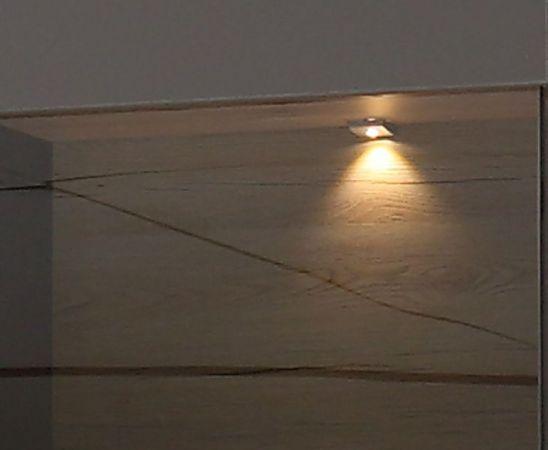 Vitrine Como in Wolfram grau und Eiche geplankt Vitrinenschrank inkl. LED Beleuchtung 60 x 203 cm