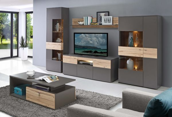 TV-Lowboard Como in Wolfram grau und Eiche geplankt Fernsehtisch inkl. LED Beleuchtung 150 x 59 cm