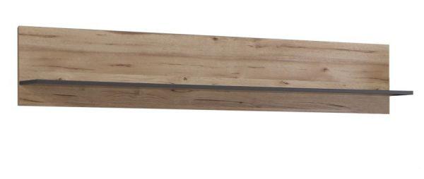 Wandboard Como in Wolfram grau und Eiche geplankt Wandregal 150 x 29 cm Bücherregal