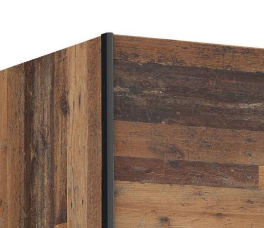 Schwebetürenschrank Kleiderschrank Dederik in Old Used Wood Shabby mit Betonoptik grau 2-türig 170 x 191 cm