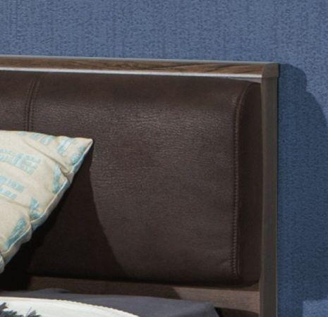 Jugendzimmer Bettanlage Jacky in Eiche / Script Schlammeiche inkl. Kopfteil gepolstert Liegefläche 140 x 200 cm