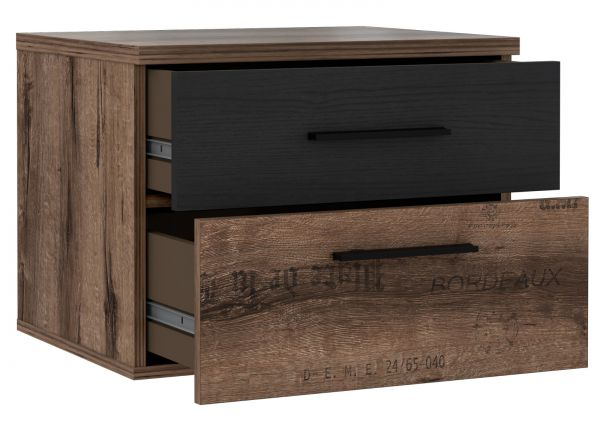 Nachtkommode Jacky in Eiche / Script Schlammeiche Schwarzeiche Nachttisch mit 2 x Schubkasten 52 x 41 cm