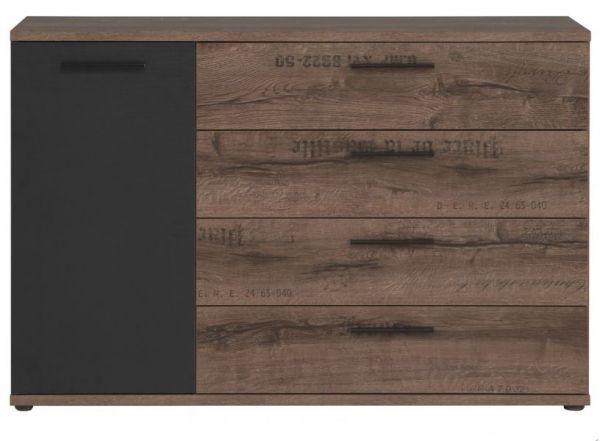 """Kommode """"Jacky"""" in Eiche / Schwarzeiche Dekor im Industrial Look 125 x 83 cm"""