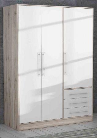 Kleiderschrank Jupiter in Sandeiche / Eiche und weiß matt Drehtürenschrank 3-türig 145 x 200 cm