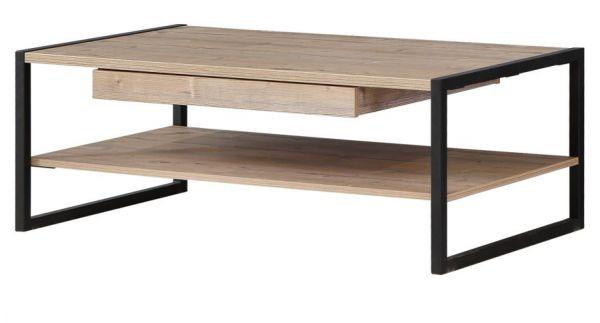 Couchtisch Kalomira in Bramberg Fichte Kufentisch mit Schubkasten und Ablage Wohnzimmertisch 110 x 60 cm