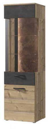 Vitrine Kalomira in Bramberg Fichte und Betonoptik grau Vitrinenschrank inkl. LED Beleuchtung 50 x 204 cm
