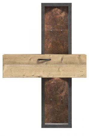 Regal Kalomira in Bramberg Fichte und Betonoptik grau Regalschrank 120 x 183 cm Hochschrank