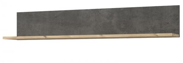 Wandboard Kalomira in Bramberg Fichte und Betonoptik grau Wandregal 160 x 27 cm Bücherregal