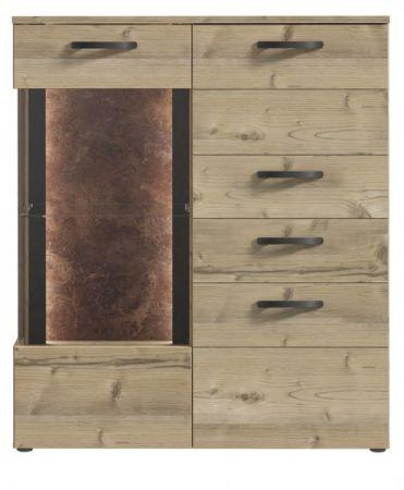 Highboard Kalomira in Bramberg Fichte und Betonoptik grau Anrichte inkl. LED Beleuchtung 105 x 130 cm Vitrine