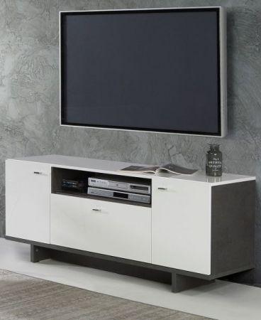 TV-Lowboard Makaria in Hochglanz weiß und Betonoptik dunkelgrau TV-Unterteil 139 x 58 cm Fernsehtisch