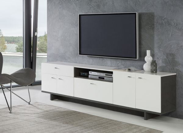 TV-Lowboard Makaria in Hochglanz weiß und Betonoptik dunkelgrau TV-Unterteil 209 x 58 cm Fernsehtisch