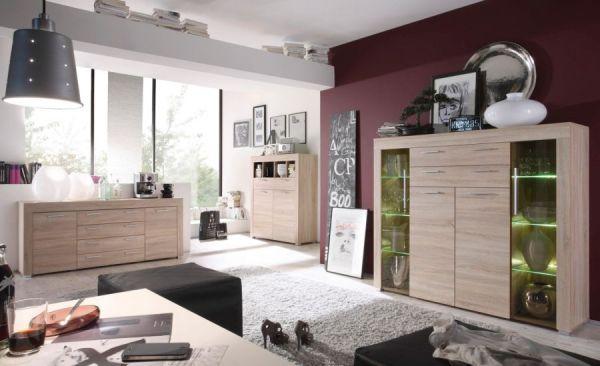 """Wohnzimmer: Wohnwand """"Boom"""" Sonoma Eiche sägerau hell (310 x 215 cm) inkl. LED-Beleuchtung"""