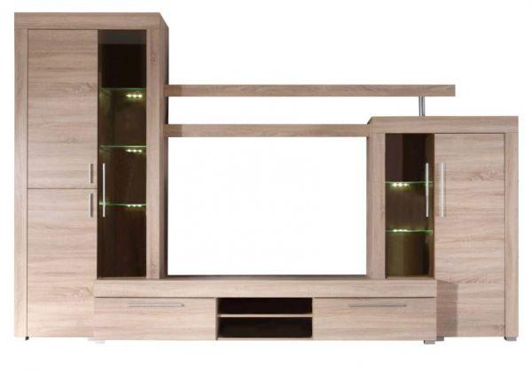 """Wohnzimmer: Wohnwand """"Boom"""" Sonoma Eiche hell, sägerau (310x215 cm) inkl. LED-Beleuchtung"""