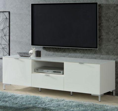 TV-Lowboard Onrie in weiß mit Glas Hochglanz TV-Unterteil 150 x 49 cm Fernsehtisch