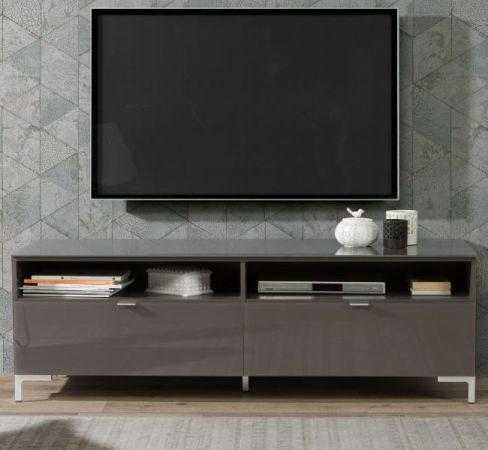 TV-Lowboard Onrie in Wolfram grau mit Glas Hochglanz TV-Unterteil 150 x 49 cm Fernsehtisch