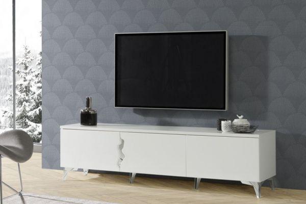 TV-Lowboard in Hochglanz weiß TV-Unterteil 180 x 48 cm Fernsehtisch 3-türig