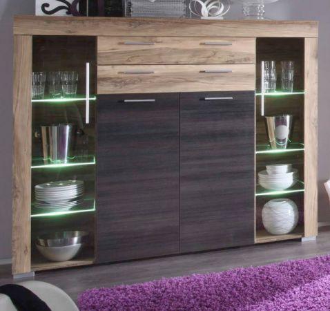 """Wohnzimmer: Highboard """"Boom"""" Nussbaum Satin, Touchwood dunkelbraun (160x137 cm) inkl. LED-Beleuchtung"""