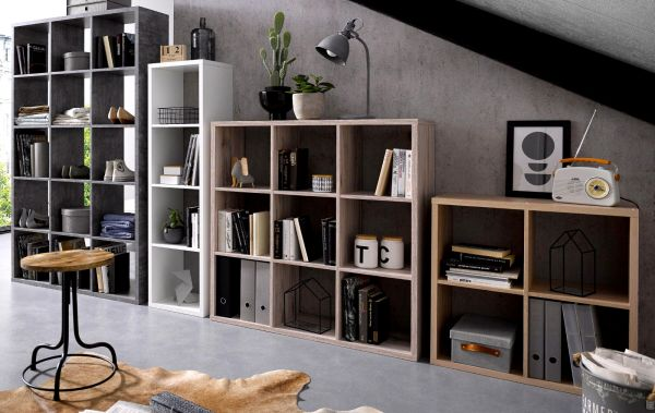 Regal System Mauro in Beton Design grau Standregal 107 x 107 cm Bücherregal quadratisch Raumteiler