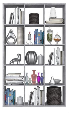 Regal System Mauro in Beton Design grau Standregal 107 x 176 cm Bücherregal Raumteiler