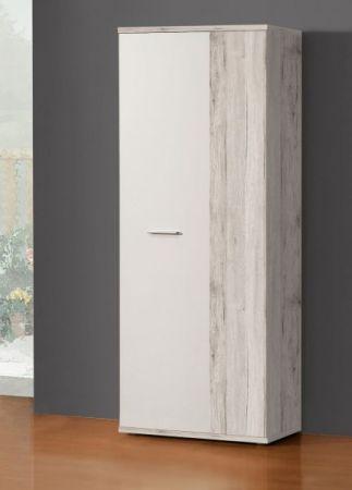 Schuhschrank Net in weiß und Sandeiche / Eiche Garderobe 69 x 179 cm Flurgarderobe